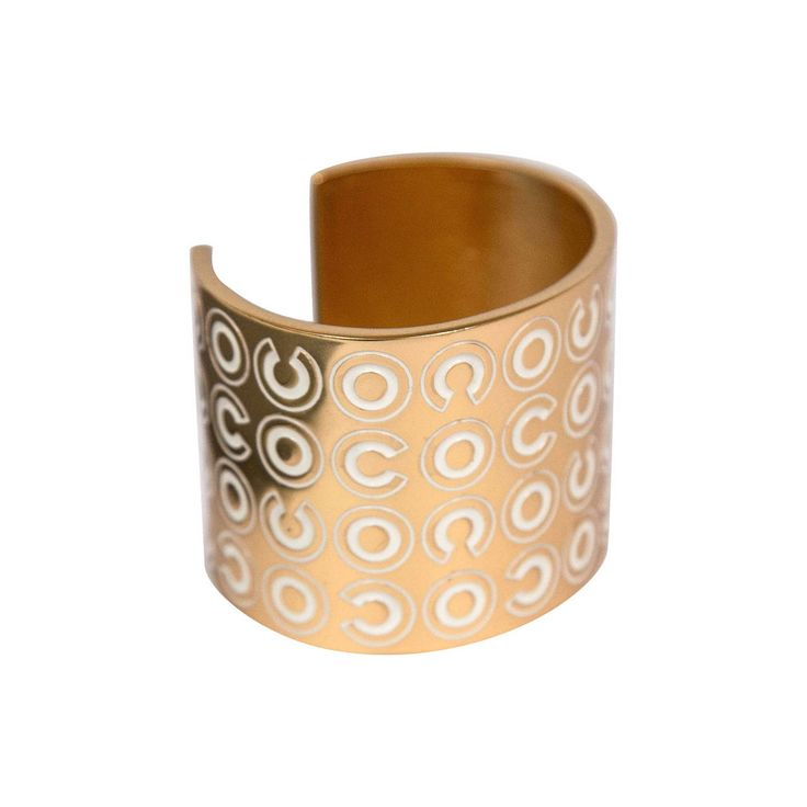 Wide Chanel Cuff Bracelet | From a unique collection of vintage cuff bracelets at https://www.1stdibs.com/jewelry/bracelets/cuff-bracelets/