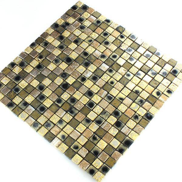 Kalkstein Marmor Stein Mosaik Gold Braun 15x15x8mm - Kaufen bei Mosafil