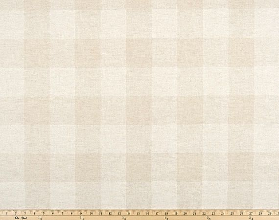 Oatmeal Beige Cloud Linen Buffalo Check Curtains - Rod Pocket  - Optional Blackout or Cotton Lining