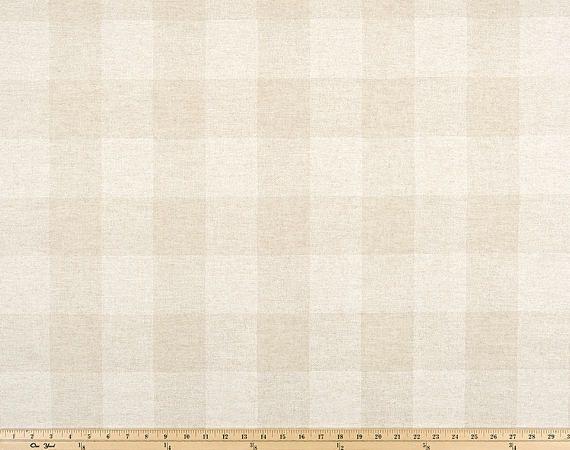 Oatmeal Beige Cloud Linen Buffalo Check Curtains - Rod Pocket  - Optional Blackout or Cotton Lining