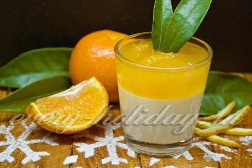 Ванильно-апельсиновое желе с мандаринами