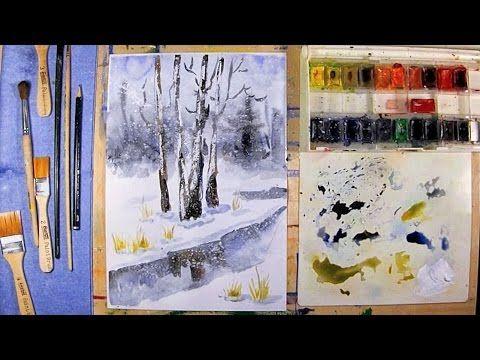 Как нарисовать зимний пейзаж - урок рисования акварелью поэтапно для детей от 8 лет и взрослых - YouTube