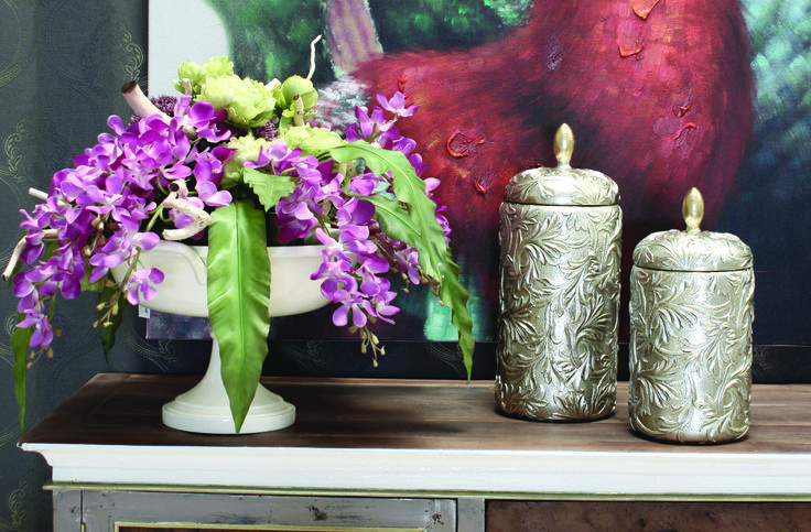 Orchids&Peony with Decorative Pot #RealClassic #GreenApple #GAhomestyle #homestyle #FlowerArrangements #Orchid #Peony #Pot