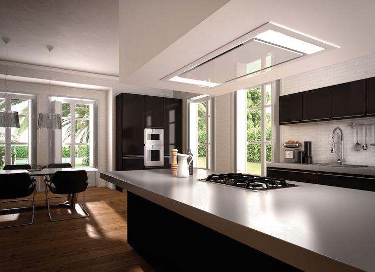 Bardzo wyraźny design przy jednoczesnej całkowitej zabudowie powoduje, okap Heaven Glass do montażu sufitowego jest elementem designu: elegancji i dobrego stylu.