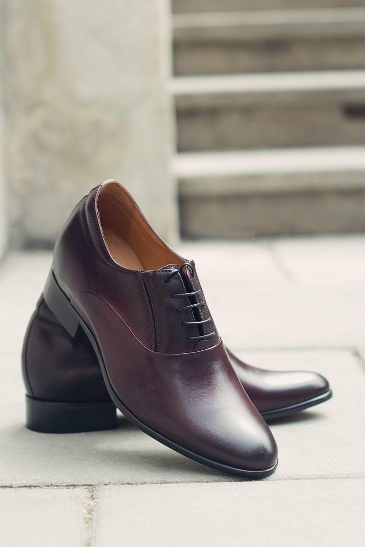 Bordowe Wizytowe Eleganckie Buty Podwyzszajace Skorzane Dress Shoes Men Dress Shoes Oxford Shoes