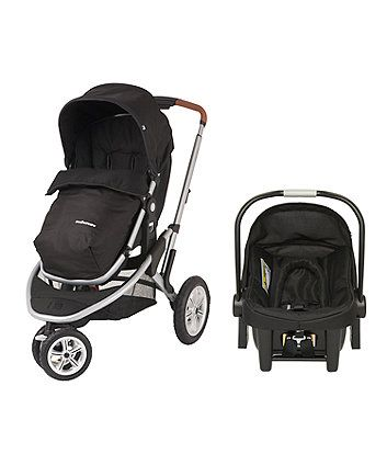 The fantastic value Mothercare Xpedior pram and pushchair travel system comes complete with an infant car seat ensuring it's easy to get out and about with your little one and the large pneumatic wheels make it great for country walks.