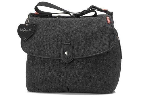 Sac à langer Satchel Tweed Black Babymel - http://www.lilinappy.fr/sac-a-langer-satchel-tweed-black-babymel.html