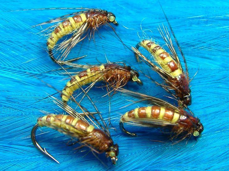 Materials Used; Hook, Veniards Osprey Grub size 12 Thread, Uni-8/0 Cahill Underbody, Lead Sheet or Wire... Body, Yellow Yarn Back, Brown 1/8 Scud Back Thorax...