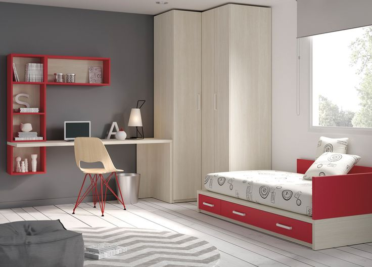 Dormitorio Juvenil. Cama con cajones. Escritorio elevado . Noce y rojo