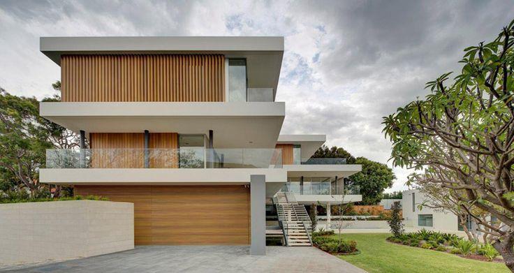 Installation of vertical aluminium sun louvres (DecoWood - wood grain powder coat finish) | Vaucluse Residence 8 - Horizon Habitats