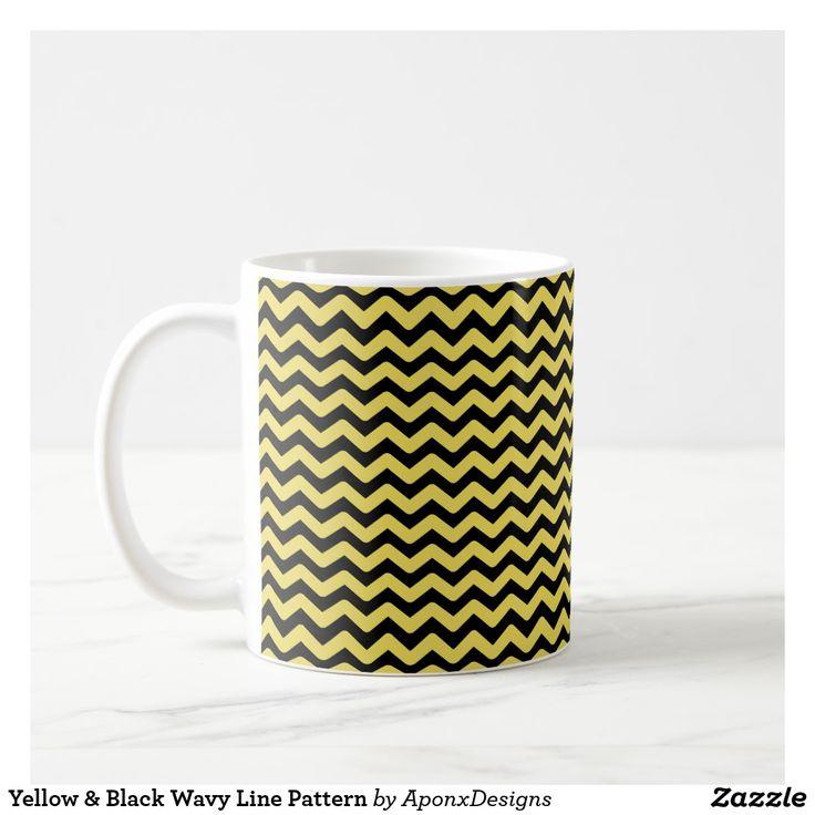 Yellow & Black Wavy Line Pattern