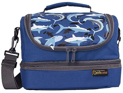 Laptop Lunches Kids Dual Compartment Shark Bento Box Carrier -http://www.mylittlegreenshop.com/ProductDetails.asp?ProductCode=MEAL_laptop_kids_dual