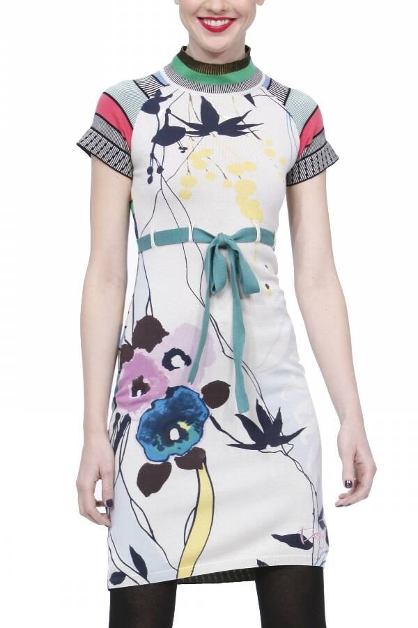 Vestido punto estampado floral, espalda a rayas.