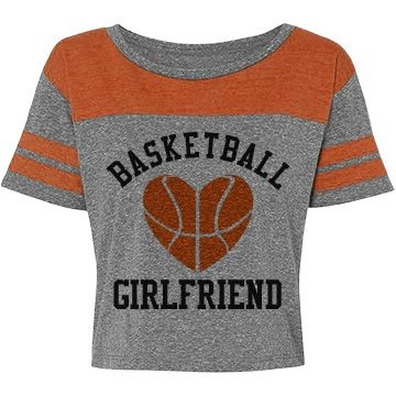 Vintage Girlfriend Sports | Is your boyfriend on the basketball team? Does he kill it out on the court? Customize a cool sporty crop top with his number on it! Wear this 'Basketball Girlfriend' shirt to his games and show your love and support.