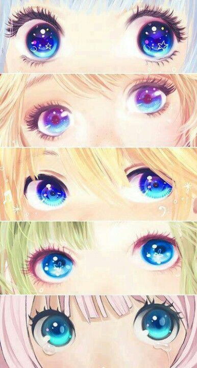 Anime eyes, looks like Miku, Rin, Len, Gumi, and IA