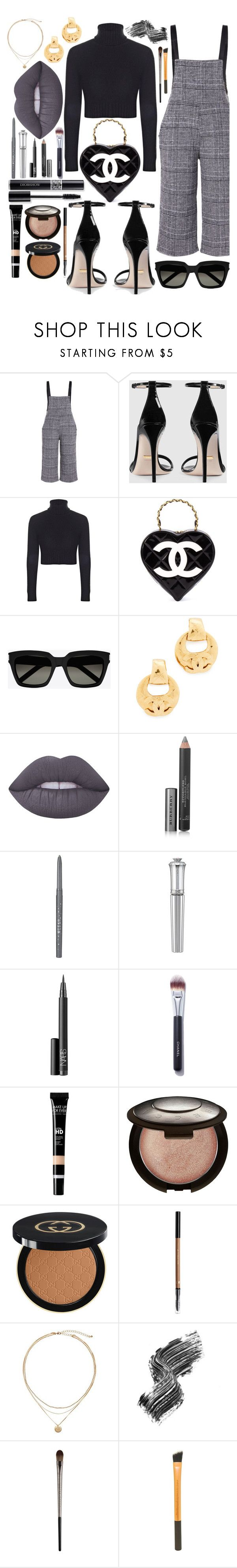 """Dungarees"" by callyfordham ❤ liked on Polyvore featuring Gucci, Boohoo, Chanel, Yves Saint Laurent, Lime Crime, Burberry, Stila, Morgan Lane, NARS Cosmetics and PINCEAU"