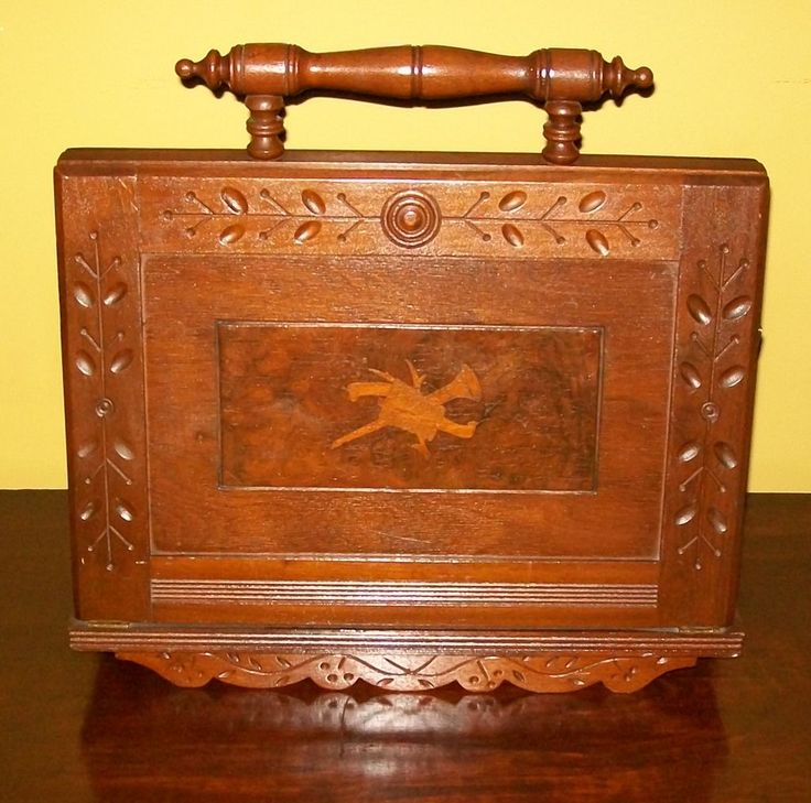 antique Victorian magazine rack Eastlake style with inlay  ~  American furniture spoon-carved chip carving