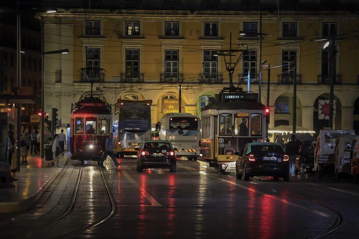 Streets of Lisbon at night.