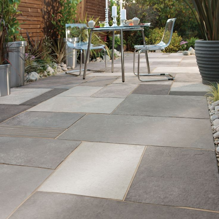 Garden paving paving ideas and flag stone on pinterest - Concrete backyard design ...