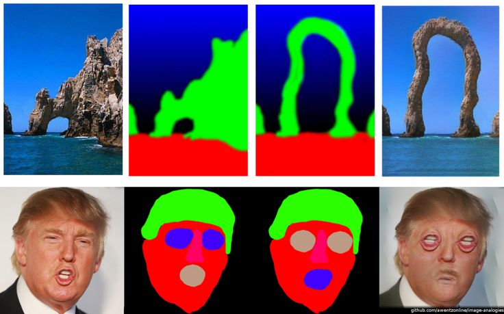 """Nueral Image Analogies by Adam WentzAdam has put on githuban implementation of this """"Image Analogies"""" paper, that combinesMarkov Random Fields and Convolutional Neural Networks for Image Synthesis. I really like the weird island image, looks like it would make a good tool for designing weird architecture, or island typography."""