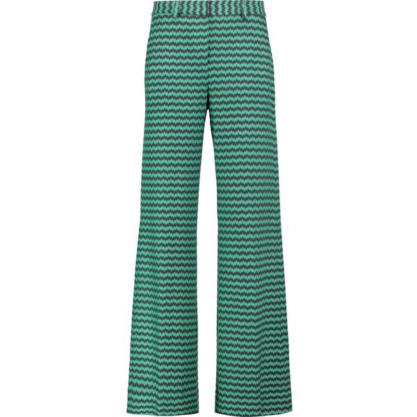 Missoni Crochet-knit wool-blend wide-leg pants ($395) ❤ liked on Polyvore featuring pants, mint, green high waisted pants, high waisted pants, green wide leg trousers, green pants and high-waisted pants