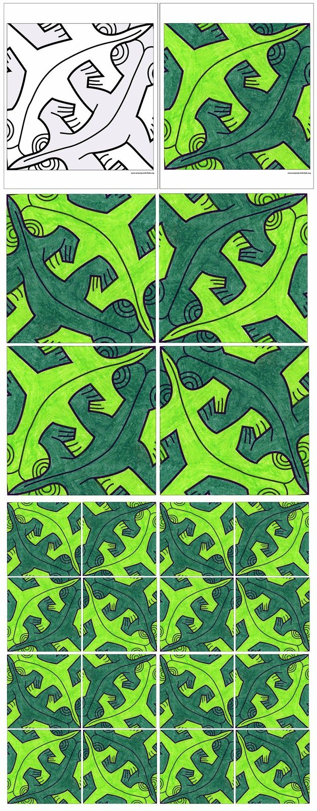 Art Projects for Kids: Escher Mural, Free Page Download. Make your own Tessellation mural, super large or super small, all with just one page.