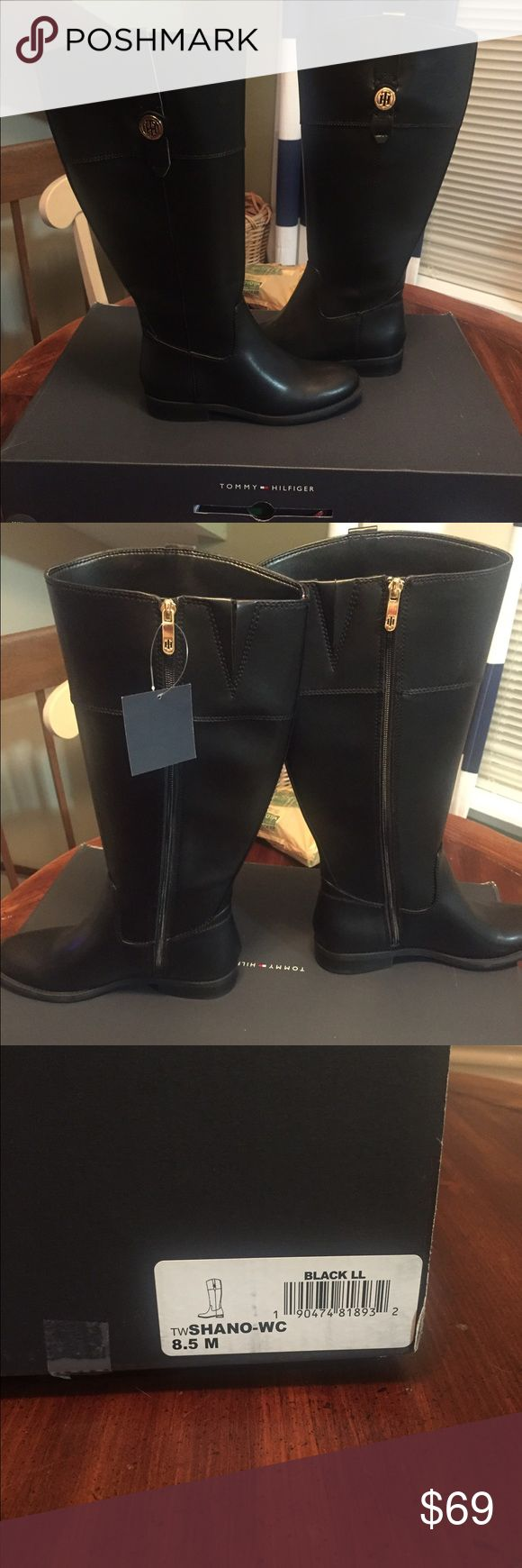 Tommy Hilfiger wide calf boots Tommy Hilfiger Shane wide-calf boots. Newer worn, new in box. Black with gold emblem on outside. Tommy Hilfiger Shoes