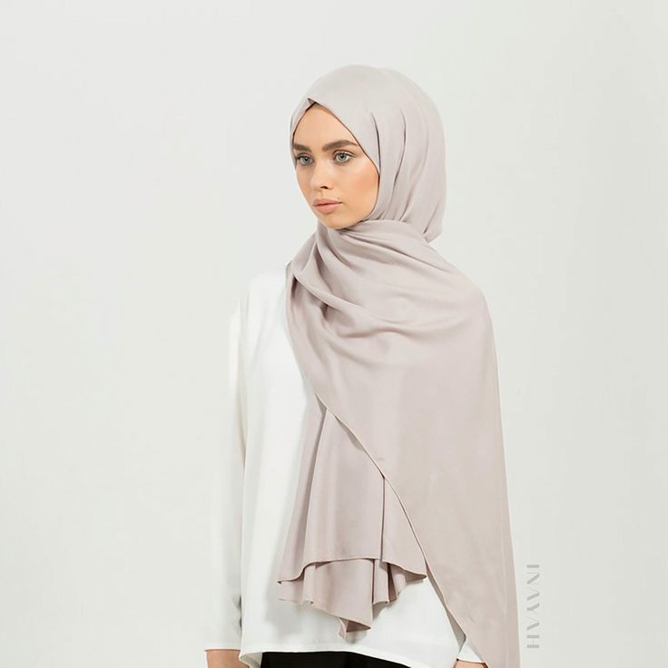 INAYAH | Shop our range of Rayon hijabs in-store and online. Our Rayon hijab collection is synonymous to the colours of Spring and can be styled beautifully - Feather Grey Rayon #Hijab - www.inayah.co