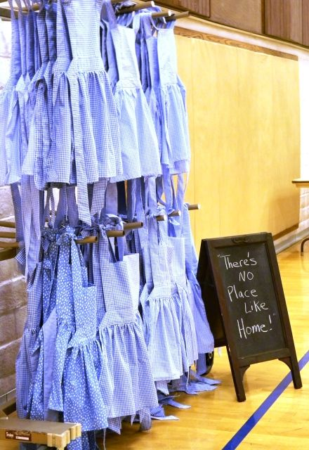 Wizard of Oz theme for an Activity Day girls event.  Classes on kindness, courage, and knowledge.  And all the girls got a Dorothy apron to wear.