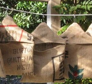 Aren't you sick of using plastic peg holders? Handmade in New Zealand, the patterns and colours of each coffee sack peg bag is different, therefore, each one is unique. $19.00 each from http://squoodles.co.nz