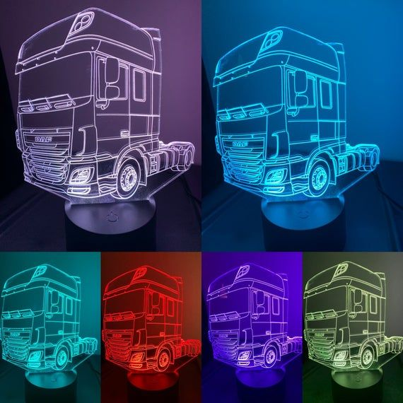 Daf Xf Truck 3d Illusion 7 Colors Changing Led Lamp With Etsy 3d Illusions 3d Led Light 3d Led Lamp