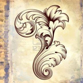 Vendange Gravure Floral Baroque De Défilement En Filigrane Cadre De Bordure Design Pattern élément Acanthe à Fond Grunge Rétro Clip Art Libres De Droits , Vecteurs Et Illustration. Image 16699638.