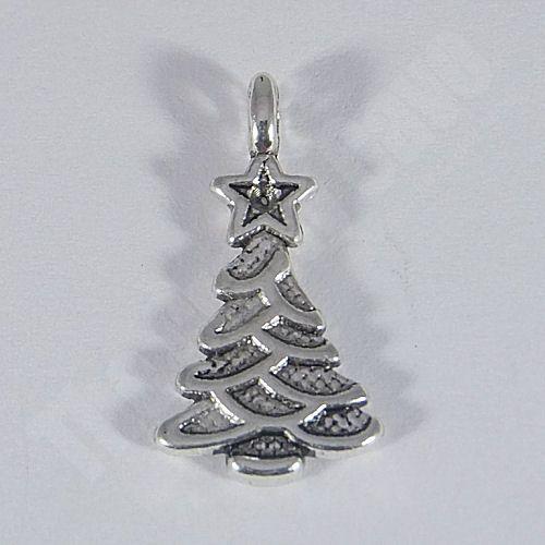 5 Tibetan Style Layered Christmas Tree Charms (21x11mm)