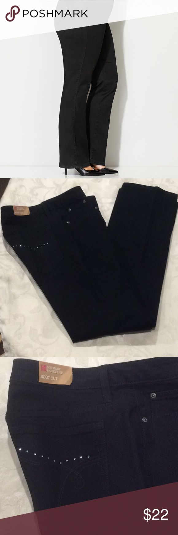 "Merona Fit 4 Black Jeans #  Brand: Merona  Size: 8R  Fit 4: Mid-waist and curvy hip  Style: Bootcut  Features: Design and faux rhinestones on back pockets  Material: 57% Cotton, 41% Polyester, 2% Spandex  Inseam: approx. 33""  Bootleg: approx. 9"" wide  Great new pair of jeans! Merona Jeans Boot Cut"