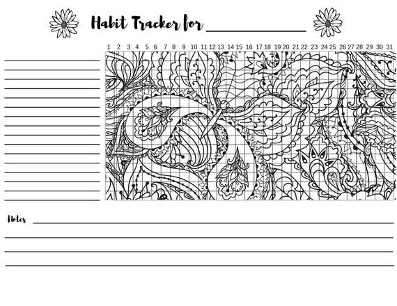 Monthly Habit Tracker Printable Bullet Journal Butterfly Etsy Habit Tracker Butterfly Coloring Page Habit Tracker Printable
