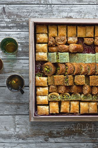 Traditonal honey and lavender baklava is a great wedding snack or canopee for the reception