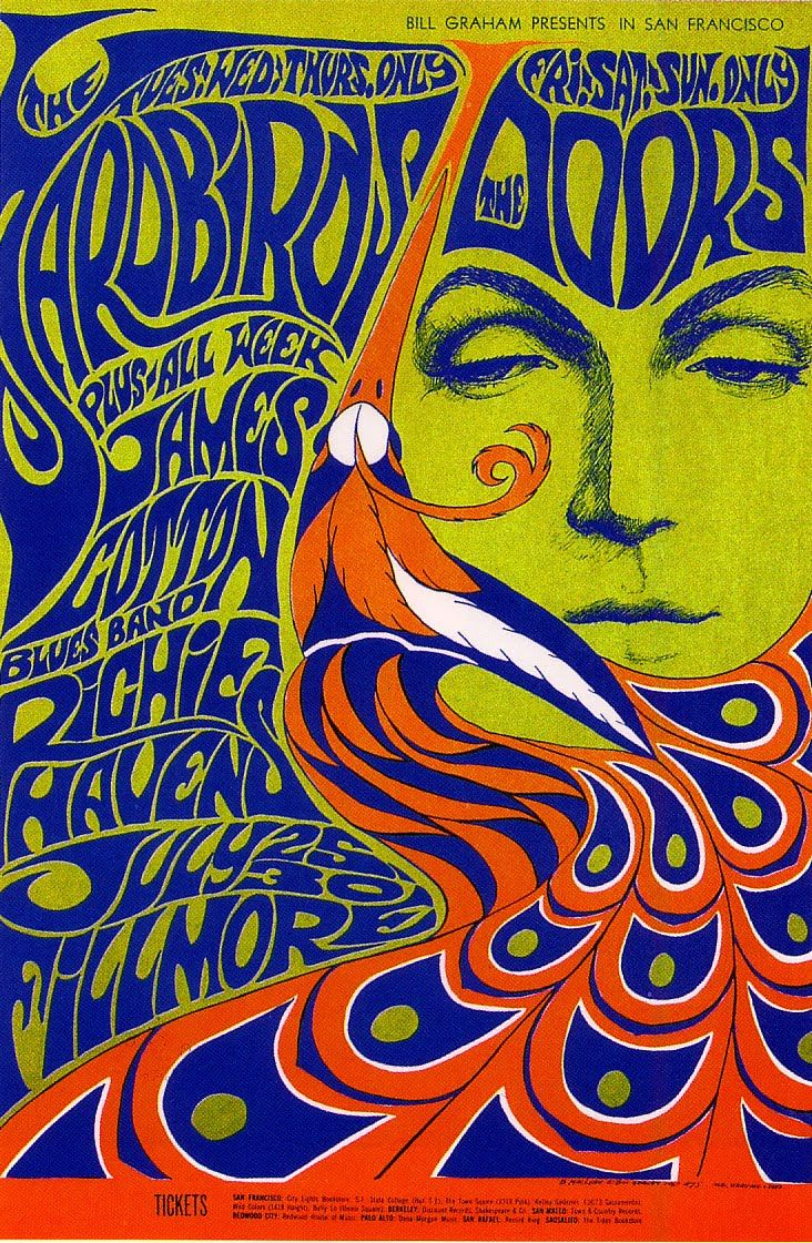 Fillmore art poster by graphic artist Wes Wilson promoting Bill Graham concert of The Doors