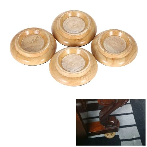 4pcs/set Solid Wood Upright Piano Caster Cups w/ EVA Anti-slip Mat Natural Color
