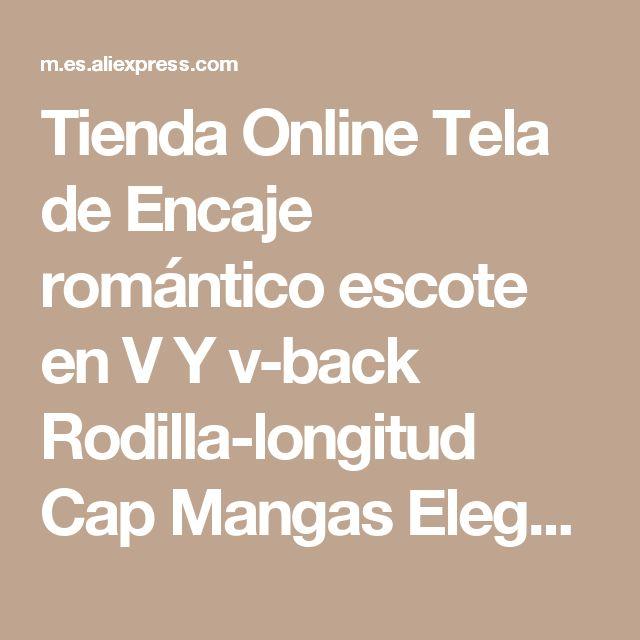 Tienda Online Tela de Encaje romántico escote en V Y v-back Rodilla-longitud Cap Mangas Elegante Custom Blush Pink Pageant Mini Vestidos de Coctel   Aliexpress móvil