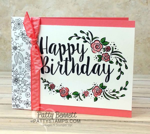 Stampin' UP! Big on Birthdays card featuring Inside the Lines designer Sale a Bration paper and an In Color palette, by Patty Bennett www.PattyStamps.com