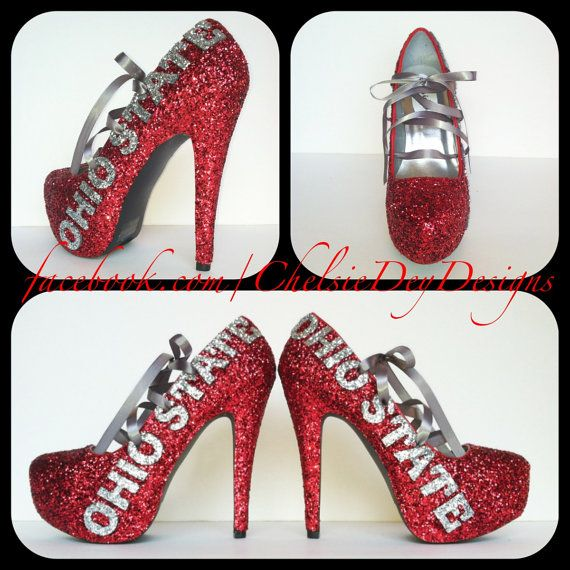 Ohio State Glitter High Heels by ChelsieDeyDesigns on Etsy, $96.00