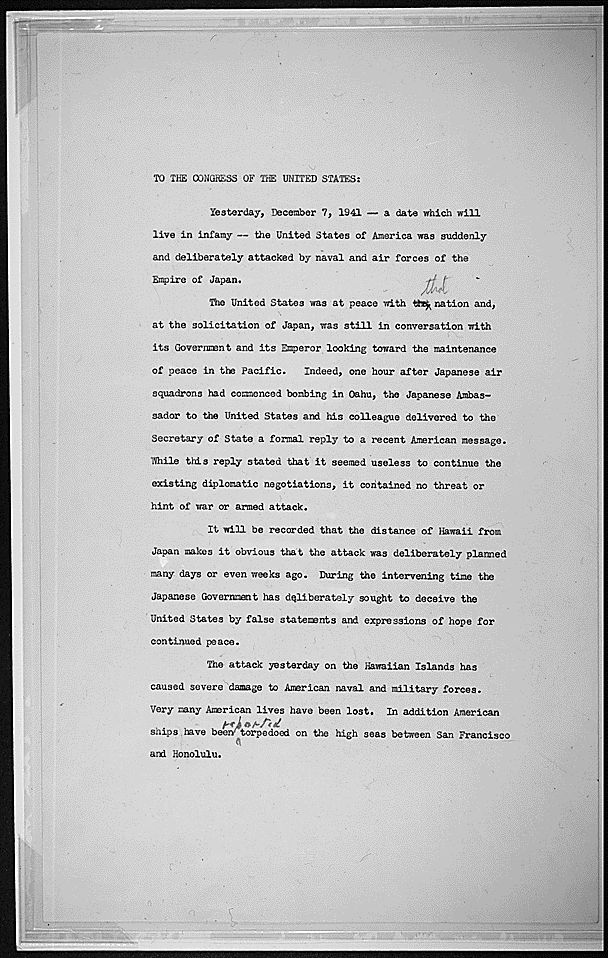 FDR's drafts of his Day of Infamy speech. Could be good to discuss drafting and revising with students.