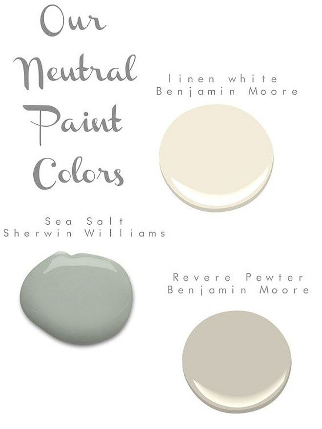 Pretty Combination - Benjamin Moore Linen White and Revere Pewter with Sherwin Williams Sea Salt