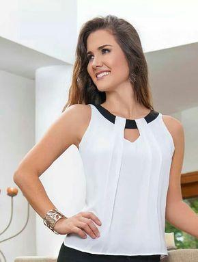 Blusa blanca con negro