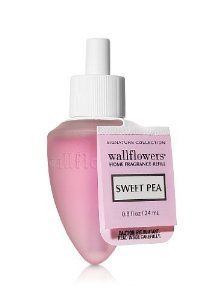 Bath & Body Works Sweet Pea Wallflowers Signature Collection Single Decoraged Fragrance Bulb Home Fragrance Refill by Slatkin & Co. by Slatkin & Co.. $5.00. blended with freesia, fresh raspberry, and soft, delicate musk to evoke the intoxicating, floral-infused breezes of the Mediterranean.. Contains: 1 Home Fragrance Bulb (0.8 fl oz/24 mL total). Created by world-renowned home fragrance expert, Harry Slatkin. The easiest way to scent your home. Combine with Wallflowers® Pl...