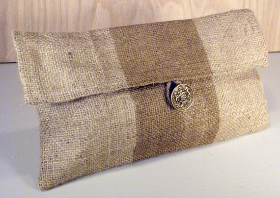 metallic gold striped burlap clutch with lime houndstooth fabric liner