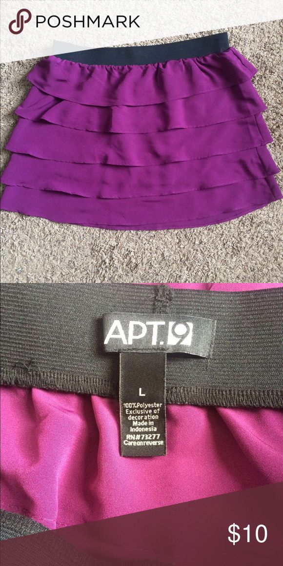 Purple tiered skirt Purple layered tier skirt with elastic waistband. Worn before but in great condition. Apt. 9 Skirts