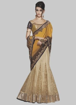 Latest Lemon Green Faux Georgette With Patch Border Work Bollywood Saree http://www.angelnx.com/