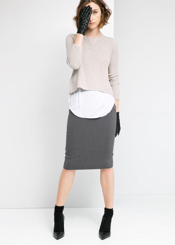 mango grey pencil skirt, layered tops