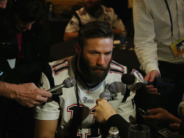 Julian Edelman Photos Photos - Julian Edelman #11 of the New England Patriots speaks to the media during the New England Patriots Super Bowl XLIX Media Availability on January 29, 2015 at the Sheraton Wild Horse Pass in Chandler, Arizona. - New England Patriots Team Media Availability